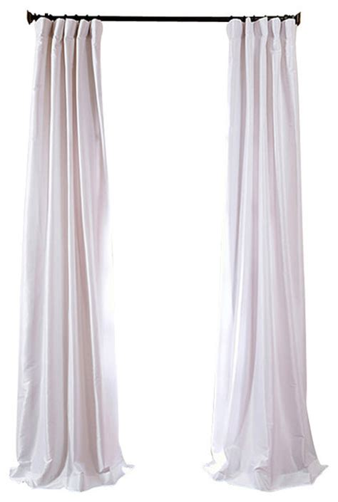 white silk drapes white faux silk taffeta curtain single panel traditional