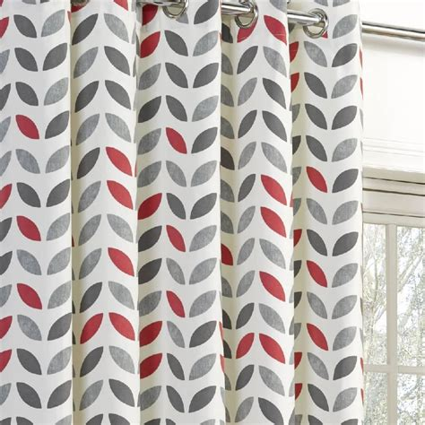 gray and red curtains lined eyelet curtains cotton ready made curtain pairs grey