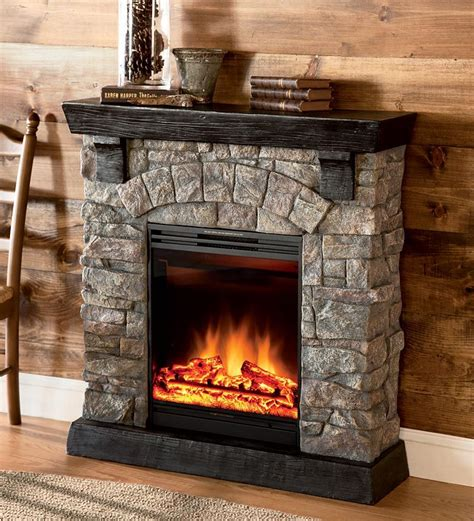 faux stone electric fireplace  adjustable heat