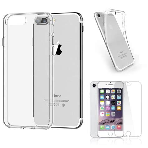 iphone   clear case cover gel  tempered glass