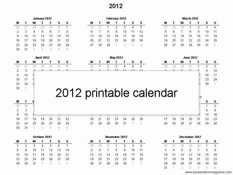 Templates Free 2012 by Free 2012 Printable Calendar Template