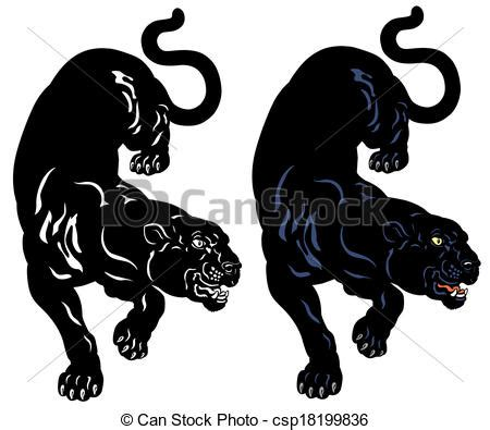 black panther tattoo illustration isolated on white