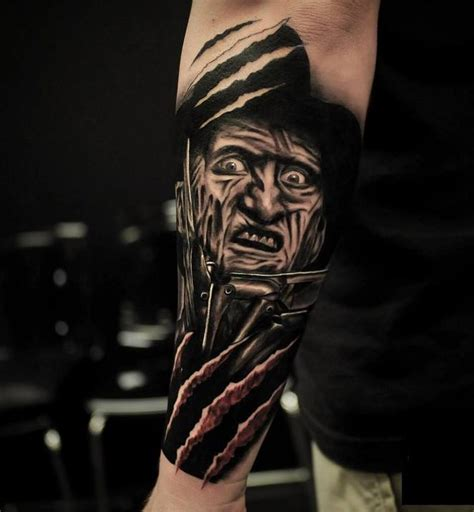 freddy krueger tattoo simple freddy krueger with trees and jason colored