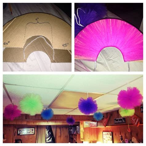 diy classroom tulle pom poms to hang from the ceiling for