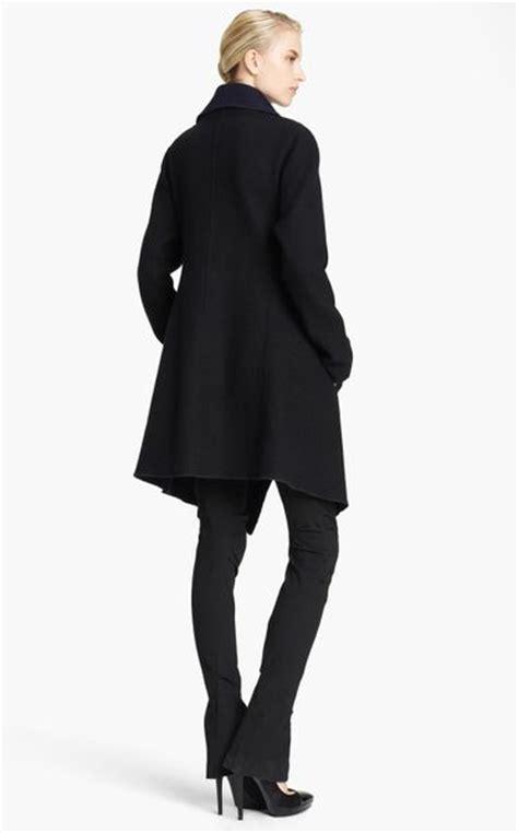 donna black ink new york donna karan new york collection draped reversible coat in black black ink lyst