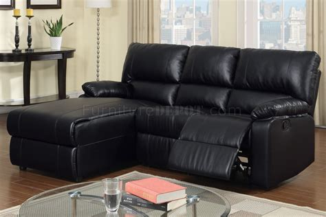 Black Reclining Sofa F6629 Reclining Sectional Sofa By In Black Bonded Leather