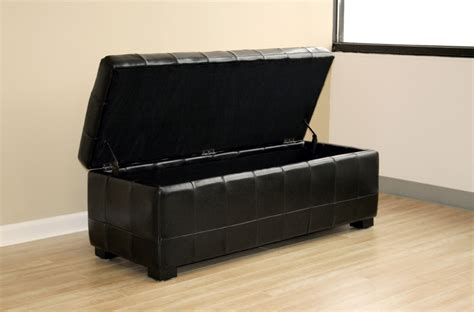 Black Leather Storage Ottoman Wholesale Interiors Bicast Leather Storage Ottoman Black Y 105 J023 Black
