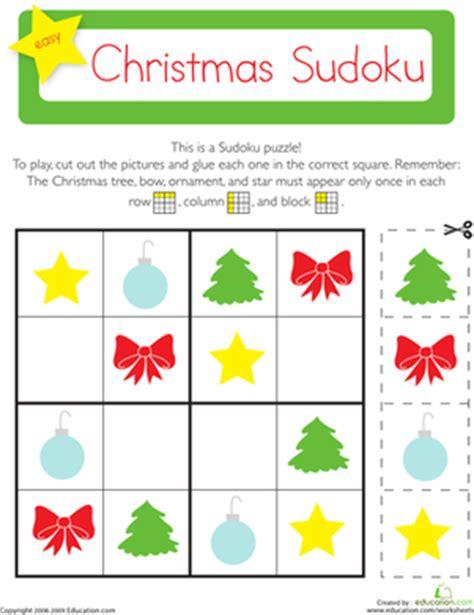 printable holiday sudoku christmas sudoku worksheet education com