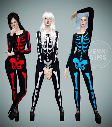 sims 4 halloween costumes jennisims downloads sims 4 body skeleton base game compatible