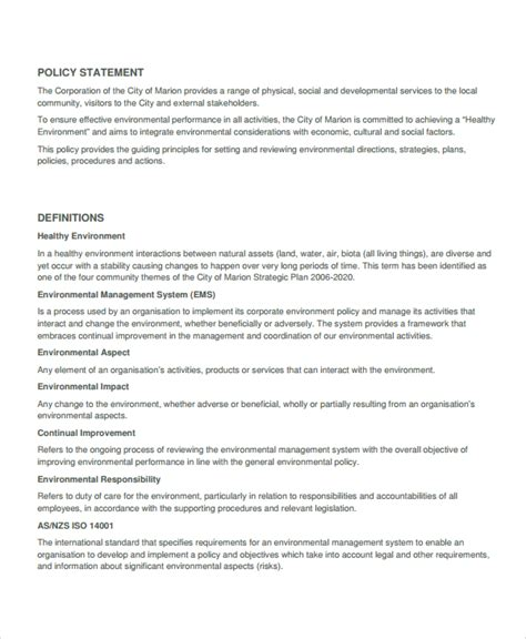 environmental policy template 7 environmental policy templates free premium templates