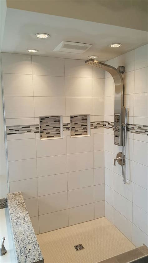bathroom soffit bathroom remodel with jacuzzi shower glass accent tile