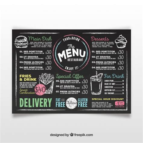 Chalkboard Menu Vectors Photos And Psd Files Free Download Chalkboard Menu Template Free