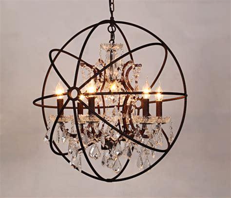 Vintage Crystal Chandelier Hanging Lighting Orb Orb Rustic Orb Chandelier