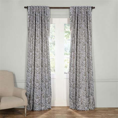Grey Blackout Curtains Exclusive Fabrics Furnishings Fog Grey Blackout Curtain 50 In W X 108 In L Pair Boch