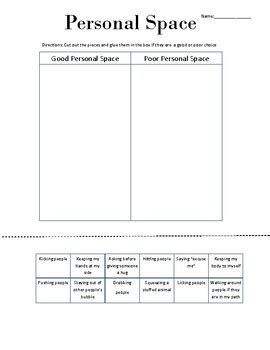 Personal Space Worksheets