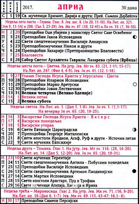 Kalendar 2018 Uskrs Pravoslavni Crkveni Kalendar