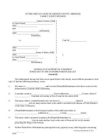 Form 16b Affidavit Of Service Ontario Court Services Affidavit Template For Family Court