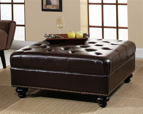 Brown Leather Square Storage Ottoman Large Square Storage Ottoman Homesfeed