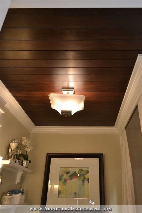 Wood Plank Ceiling Bathroom