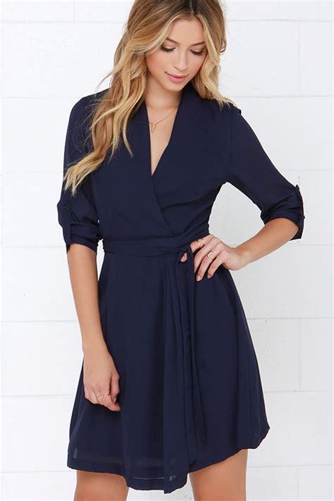 Branded Wrap Blue Dress navy blue dress sleeve dress wrap dress 45 00