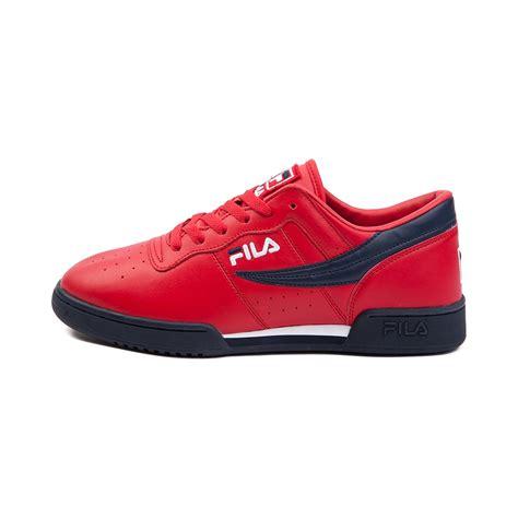 mens fila original fitness athletic shoe rednavywhite