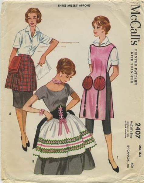 sewing pattern vintage apron vintage apron sewing pattern mccall s 2407 year 1960