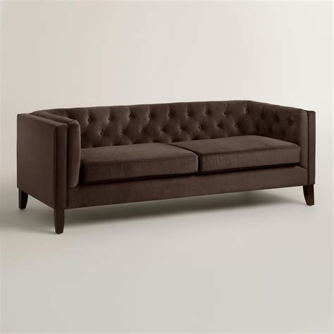 brown velvet sofa chocolate brown velvet kendall sofa world market