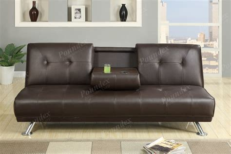 Leather Futon Sofa Sunset Expresso Faux Leather Futon Adjustable Sofa Bed W Fold Cup Holders Ebay