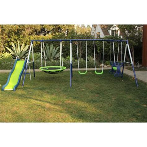 swing with slide swing set playground metal swingset backyard playset