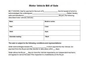 motor vehicle receipt template motor vehicle bill of sale motor vehicle bill of sale