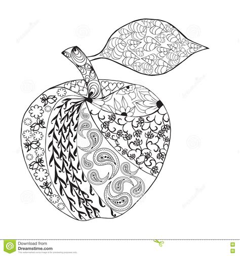 fruit zentangle vector monochrome apple zentangle style for coloring book