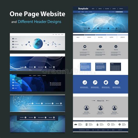 One Page Website Template And Different Header Designs Stock Vector Illustration Of Branding Ux Website Templates