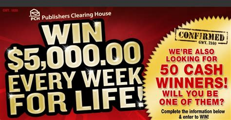 Pch 5000 A Week For Life Entry - www pch com w71 pch w71 5000 a week for life