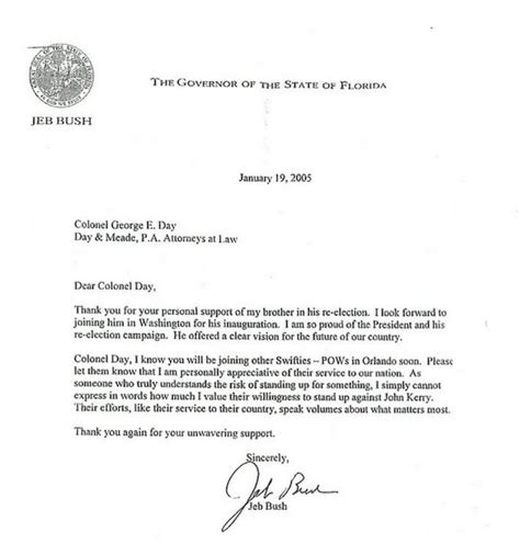 Gift Letter For Boat Jeb Bush Sent Thank You Note To Boat Vets For Kerry Smear Crooks And Liars
