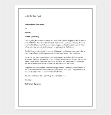 Business Apology Letter For Bad Service restaurant apology letter to customers 4 sles formats