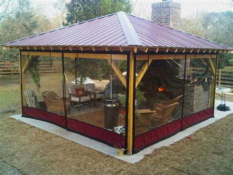 Improbable cheap gazebo with side panels garden landscape