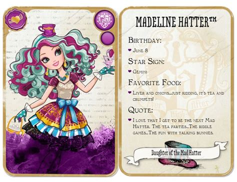 cuisine r駸erver madeline hatter character after high