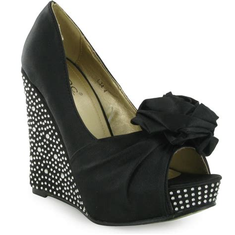 womens black satin peeptoe wedge heels formal