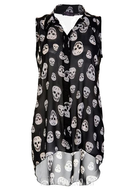 skulls hi lo chiffon blouse womens clothing sale womens