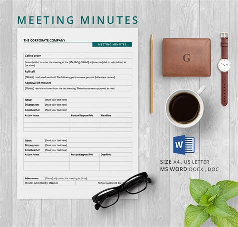 corporate minute template 13 meeting minutes template free sles exles