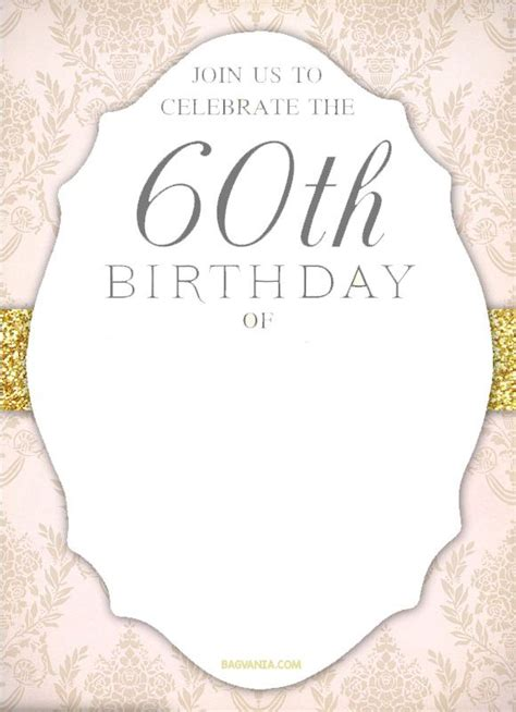 Free Printable 60th Birthday Invitation Templates Drevio Invitations Design 60th Birthday 60th Birthday Invitations Free Templates