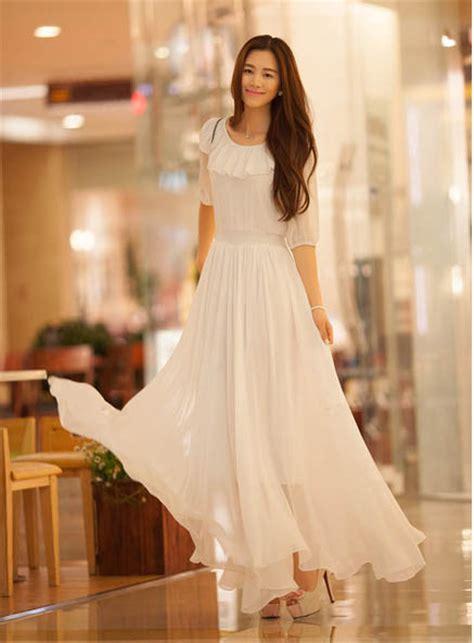 Dress Dress Korea Baju Korea 185 dress korea sifon putih model terbaru jual murah