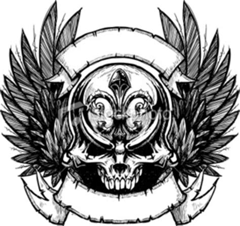 ist skull wing banner b w free images at clker com