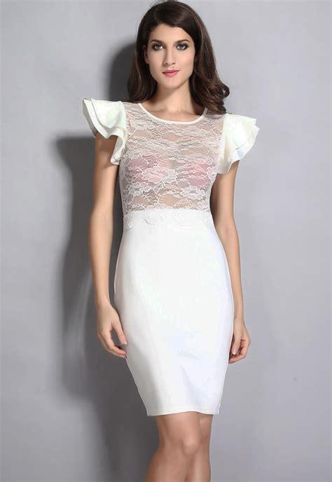 Ivory Ivori Dress Vsnzcc 2015 o neck dresses ivory black sheer lace dress lwb6473 in dresses from s