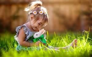 Small girl and rabbit happy new hd wallpapernew hd wallpaper
