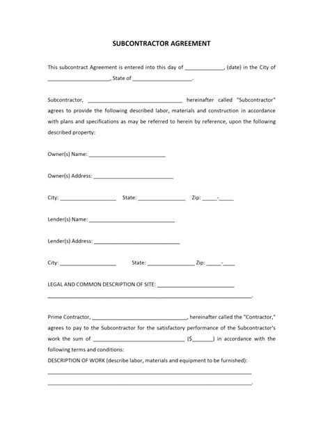 Template Construction Subcontractor Agreement Template Free Construction Subcontractor Agreement Template