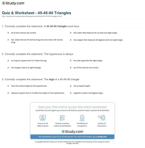 45 45 90 Triangle Worksheet by Quiz Worksheet 45 45 90 Triangles Study
