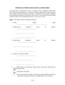 Temporary Power Of Attorney Template by Power Of Attorney For Care Of A Minor Child Form