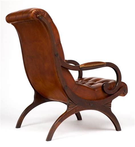 english armchair english neocolonial tufted leather and mahogany armchair at 1stdibs
