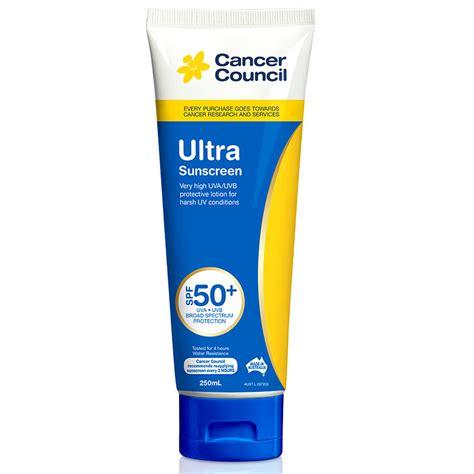 Spf 50 Sunblock cancer council spf 50 ultra sunscreen 250ml